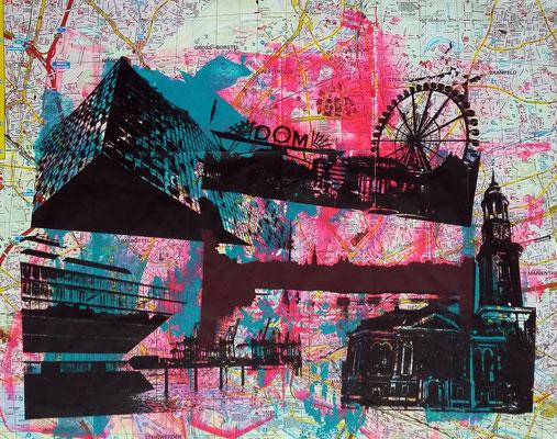 Stadtplandruck_Schwarze Collage auf pink-türkis, 60 x 60cm