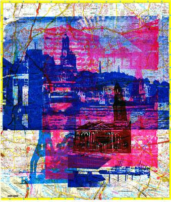 Stadtplandruck_Blaue Landungsbrücken auf pinker Collage, 70 x 60 cm