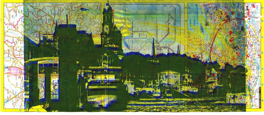 Stadtplandruck schmal_Grüne Landungsbrücken auf blau-gelb, 70 x 30 cm