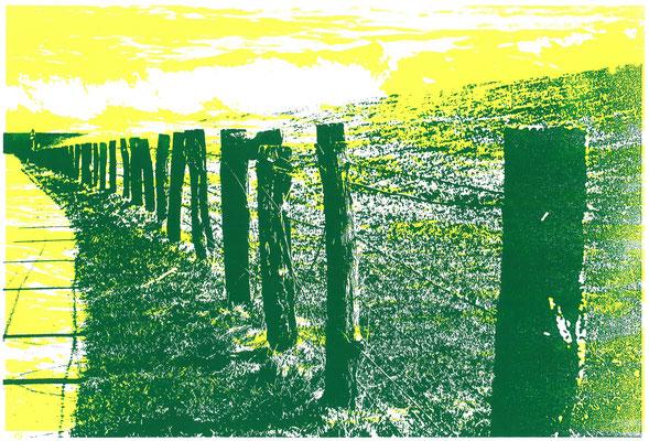 Deichzaun Grasgrün auf Meeresrauschen Gelb, 29 x 21 cm