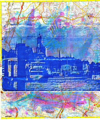 Stadtplandruck_Blaue Landungsbrücken auf blau-pink, 70 x 60 cm