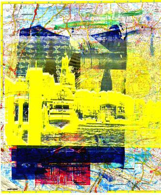 Stadtplandruck_Gelbe Landungsbrücken auf blauer Collage, 70 x 60 cm
