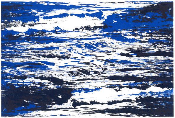Meeresrauschen upside down - zweimal Blau (dunkel), 29 x 21 cm