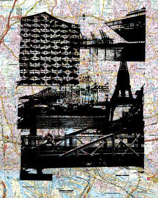 Stadtplandruck_Schwarze Collage, 70 x 60 cm