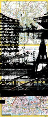 Stadtplandruck schmal_Schwarze Collage, 70 x 30 cm