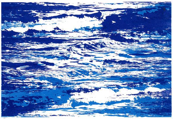 Meeresrauschen upside down - zweimal Blau (hell), 29 x 21 cm