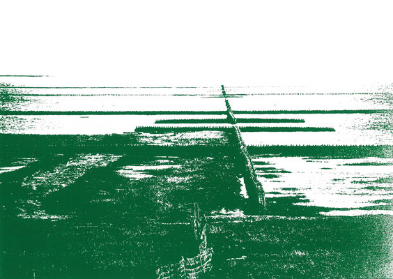 Wattenmeer am Deich Grasgrün, 29 x 21 cm