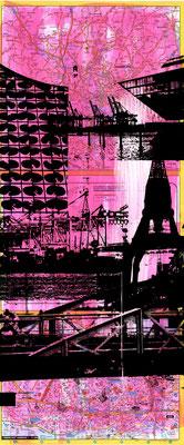 Stadtplandruck schmal_Schwarze Collage auf pink, 70 x 30 cm