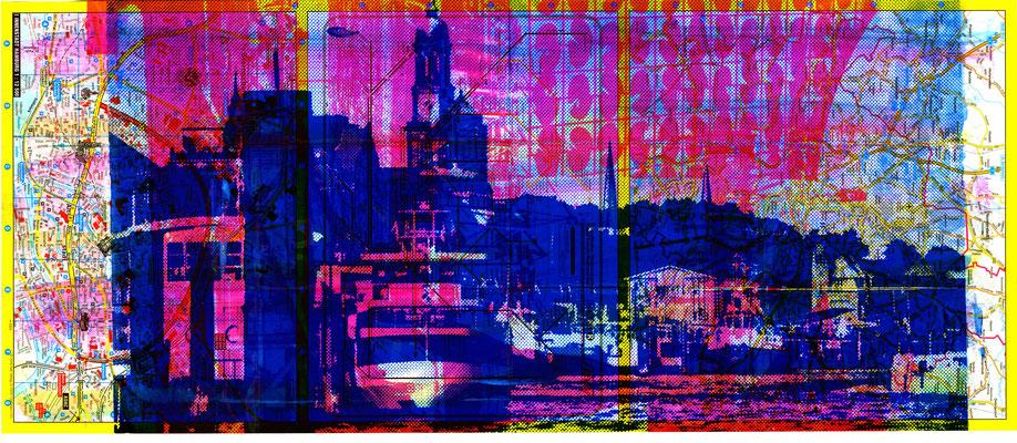 Stadtplandruck schmal_Blaue Landungsbrücken auf pinker Collage, 70 x 30 cm