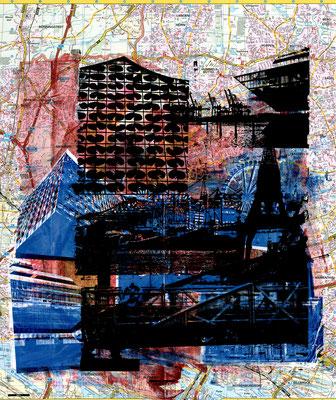 Stadtplandruck_Schwarze Colllage auf blauer Collage und rot, 70 x 60 cm