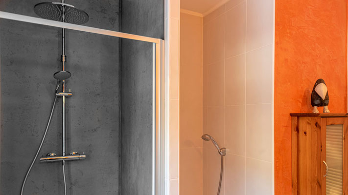 Dusche in Sichtbeton