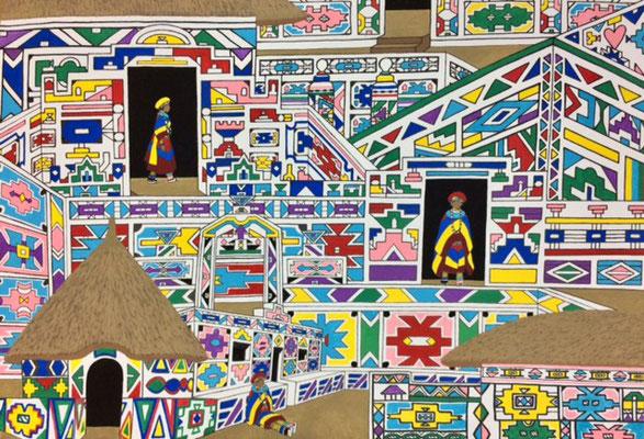 文化と文様シリーズ No.029 『南アフリカ/ンデベレ小屋』