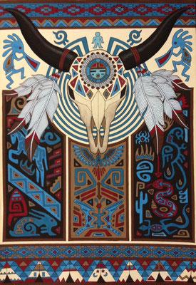文化と文様シリーズ No.008『バイソン/アメリカインディアン』