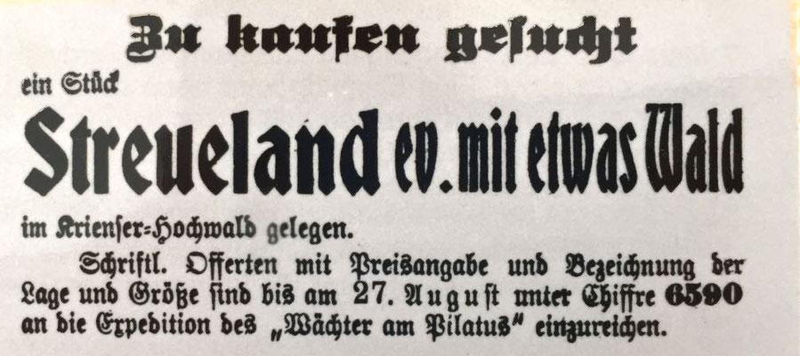 "Inserat im ""Wächter am Pilatus"" Sommer 1929"