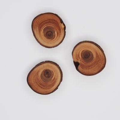 Magnete aus Thuja, Oberfläche glatt, geölt