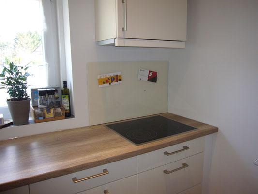 Glasmagnettafel-Küchenrückwand im Farbton Elfenbeinweiß (REF 1013) im Standardformat 50 x 80 cm