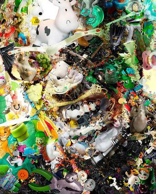 Ray Charles / Toy Recycled Optical Illusion Digital Art / ©Rafael Espitia