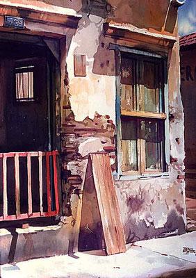 Luz en su casa :: Acuarela Rafael Espitia 1984