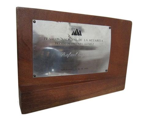 """Firts Prize and """"PEDRO NEL GOMEZ"""" Plaque given to RAFAEL ESPITIA."""