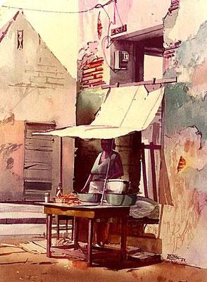 Venta de Fritos :: Acuarela Rafael Espitia 1984