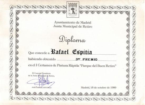 3er Premio concurso de pintura rápida Parque del Buen Retiro. Madrid, España.