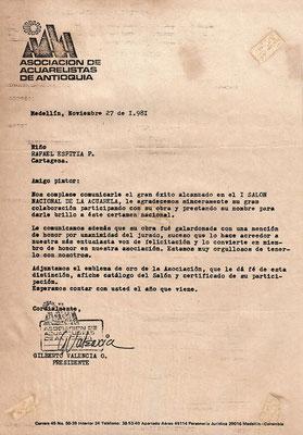 At 13 years old, Honorific Mention, Watercolor Contest. Medellin, Colombia. Asociación de Acuarelistas Antioqueños.