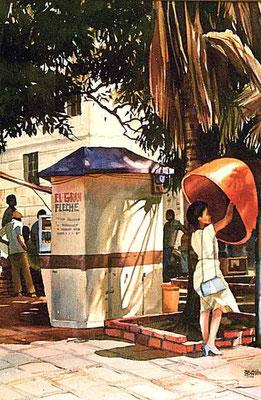 La llamada al medio día :: Acuarela Rafael Espitia 1987