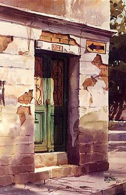 Portón cachaco :: Acuarela Rafael Espitia 1985