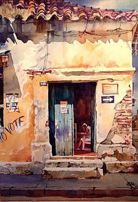 La Viejita :: Acuarela Rafael Espitia 1988