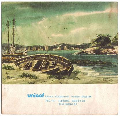 """Acuarela """"Marina"""" por Rafael Espitia UNICEF greeting card"""