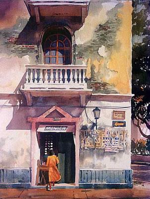 Balcón y Venta :: Acuarela Rafael Espitia 1988