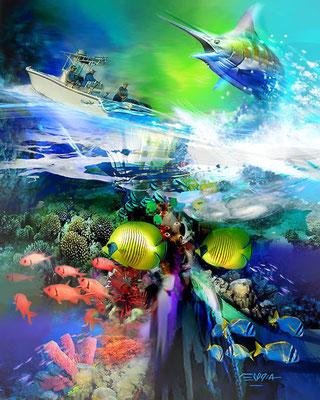 "Murals ""Fort Lauderdale Marine Life"" 3D Digital Art. TRYP MARITIME Hotel By Wyndham Fort Lauderdale USA."