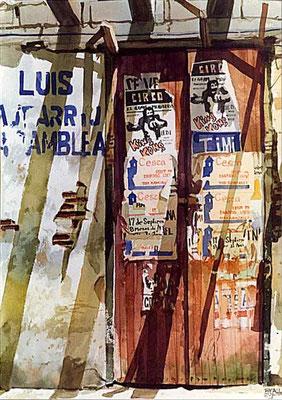 Llegó el Circo :: Acuarela Rafael Espitia 1984