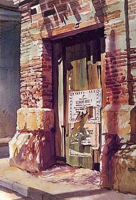 Ruina y Cartel :: Acuarela Rafael Espitia 1988