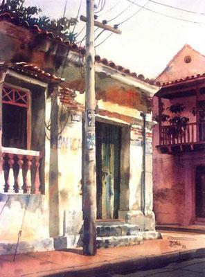 Salió el sol :: Acuarela Rafael Espitia 1988