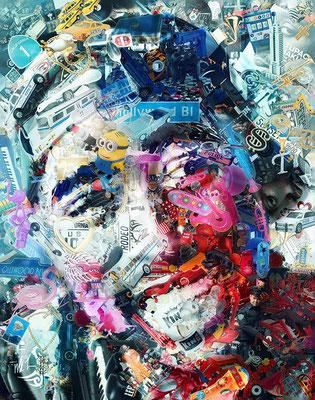 Tupac Shakur / Toy Recycled Optical Illusion Digital Art / ©Rafael Espitia