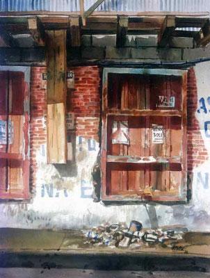 Los Escombros :: Acuarela Rafael Espitia 1988