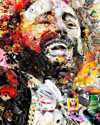 Luciano Pavarotti / Toy Recycled Optical Illusion Digital Art / ©Rafael Espitia