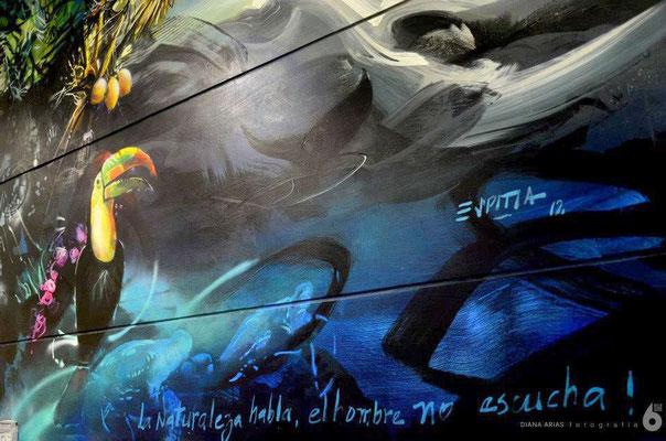 """Museo Libre de Arte Publico de Colombia. Cali, Colombia. Mural """"La Naturaleza habla, el hombre NO escucha..."""" Estación MiO Menga."""