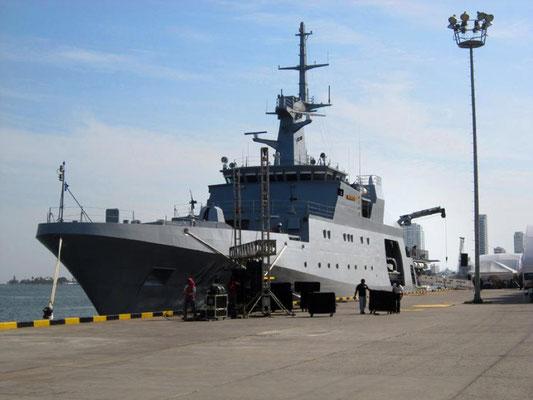 """Obra comisionada por la Armada Nacional para el Primer Navío construido totalmente en Colombia: ARC """"20 de Julio"""". Cartagena de Indias, Colombia."""
