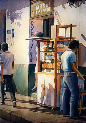 Sombra en la chaza :: Acuarela Rafael Espitia 1987
