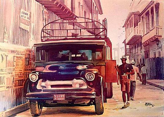 Camión en el Centro :: Acuarela Rafael Espitia 1985