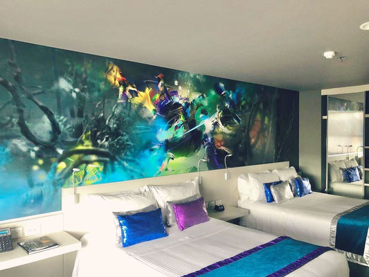Mural Digital en 3D Habitaciones Hotel Black Tower Bogotá