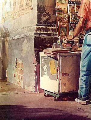 El Nobel :: Acuarela Rafael Espitia 1985