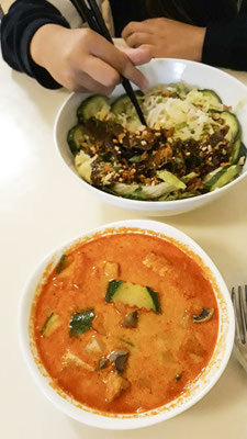Veganes Red Curry und Beef Salad
