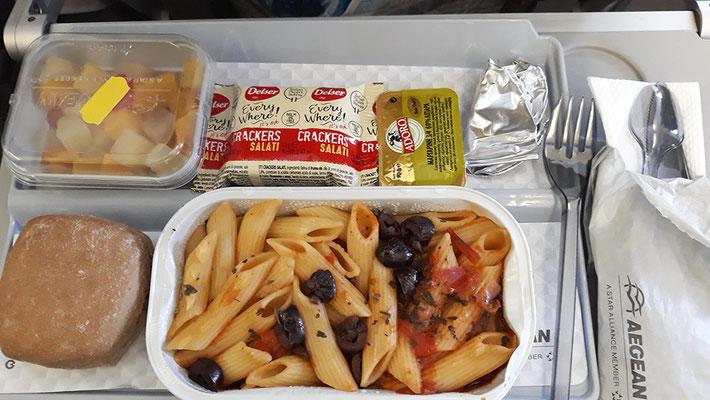 Veganes Menu bei Aegean Airlines