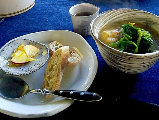 陶芸 陶芸家 仲本律子 笠間市 粉引作品 スープ パン