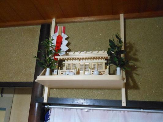壁掛け三社神棚+国産桧棚板