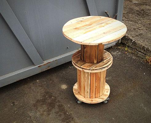 """Table haute mobile, à partir de deux tourets, avec plateau amovible / """"BioCoop des chartrons """"/ Bordeaux / 2016"""