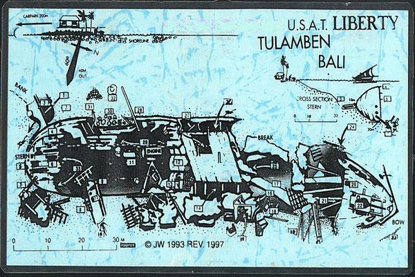 Carte de l'épave du liberty à Tulamben